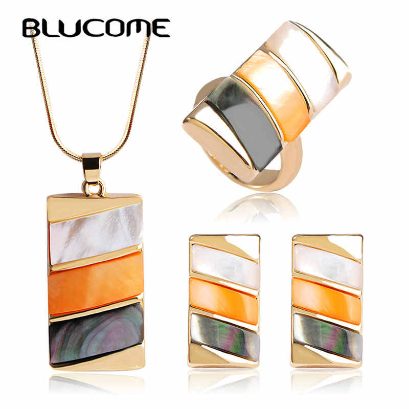 Blucome Luxury Bijuterias Shell Dubai Jewelry Sets Brand Women Wedding Rings Square Necklace Earrings Ring Set Bijoux Brincos
