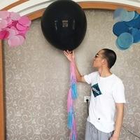 Wedding Engagement Bridal Shower Decoration Kits 1pc Giant 36 Gender Reveal Black Balloon 10 Pcs Pink