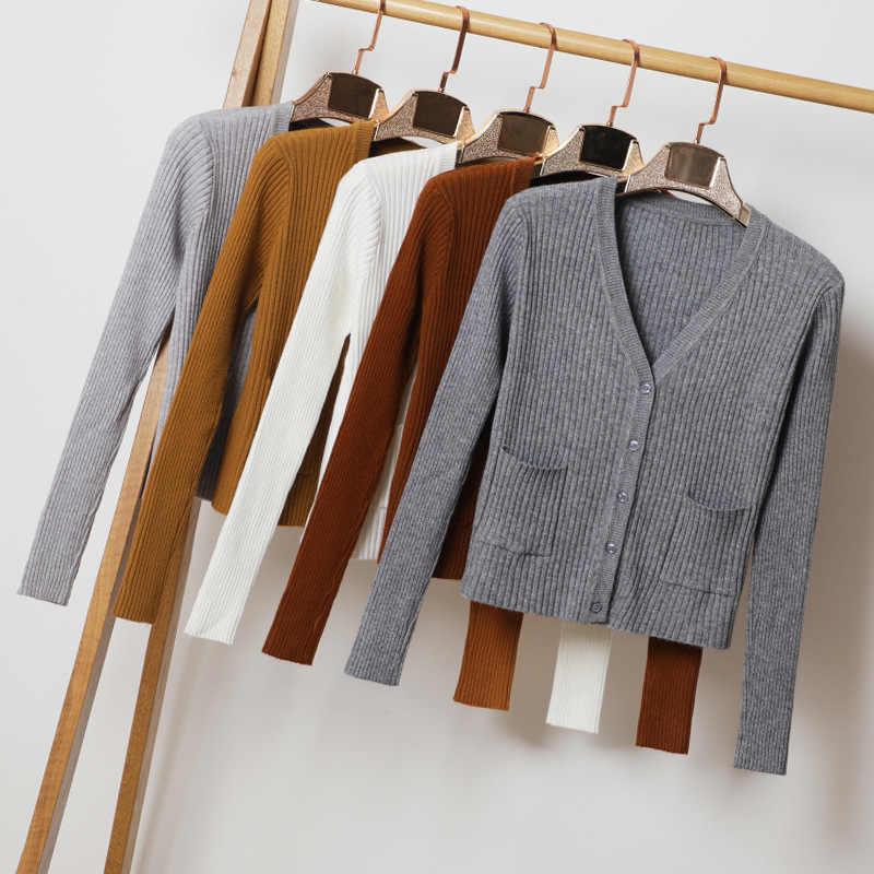Queechalle 2020 Musim Gugur Pakaian Solid Stripe Merajut Sweater Mantel Wanita V Leher Lengan Panjang Pendek Rajutan Mantel dengan Kantong