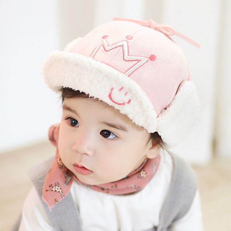 ca0c0560b82 2017 Autumn Newborn Toddler Baby Boys Girls Tie Up Hat Infant Spring Beanie  Cotton Cap Crown Print Warm Caps for 5 45M-in Hats   Caps from Mother    Kids on ...