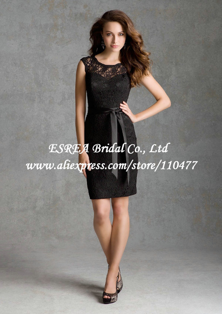 Cap Sleeves Modest Sheath Short Lace Bridesmaid Dress Y Black Dresses Keyhole Back Mg770 White