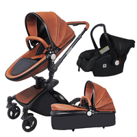 Babyfond baby stroller brand 3 in 1 baby strollers leather two way suspension folding be car trolley Europe baby pram gift ALUON