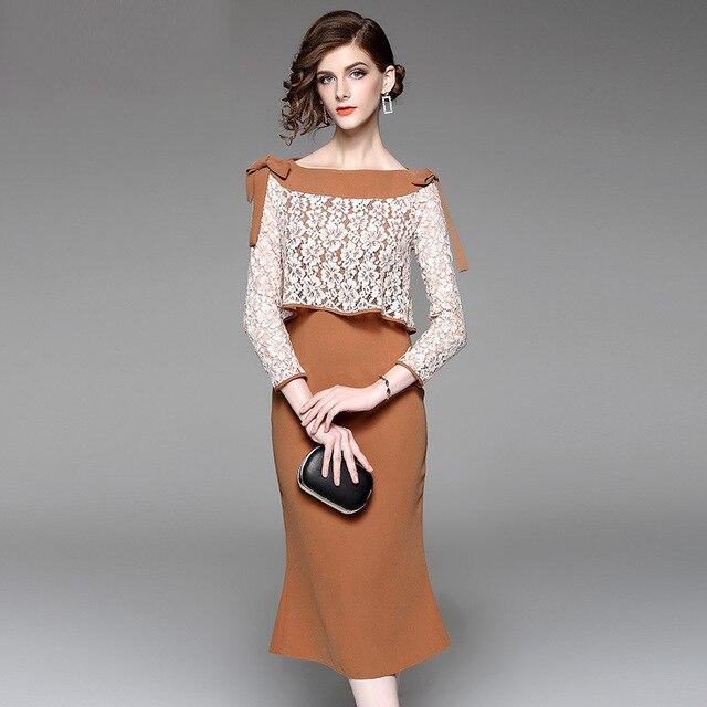 3d07808503bc Multiflora Spring Autumn Elegant Lace Splicing Bowknot Long Sleeve Bodycon  Dress Caramel