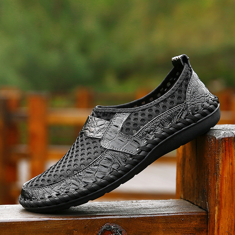 Summer Shoes Genuine-Leather Comfortable Fashion Mens Brand Man Slip On Soft