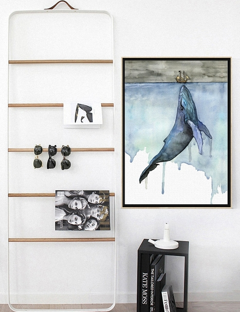 Whale and Sailboat Canvas Poster 2