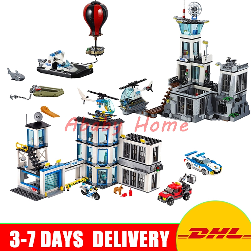 DHL Lepin City Series 02006 Police Prison Island+ 02020 Police Station Educational Building Blocks Bricks Model Toys 60130 60141 02020 lepin new city series the new police station set children educational model building blocks bricks diy toys kid gift 60141