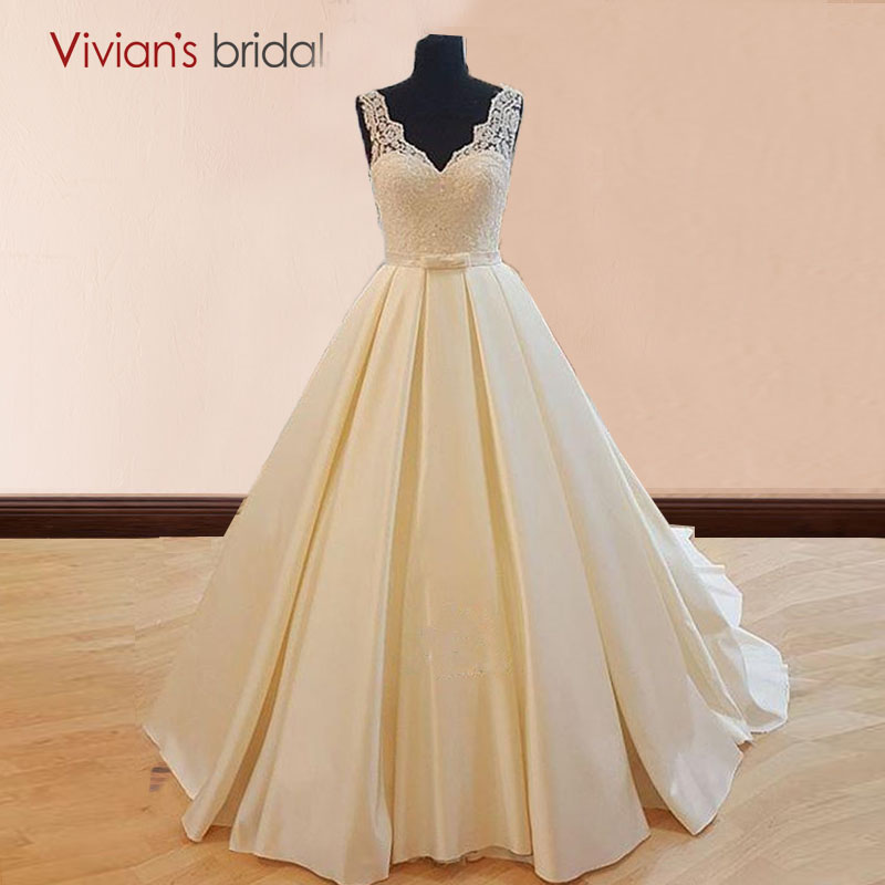 Simple But Elegant Satin Wedding Dress Xz186: Simple Wedding Dress Satin V Neck Lace A Line Bridal Gowns