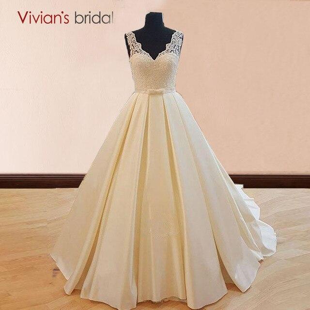 A Line Simple Wedding Dresses: Simple Wedding Dress Satin V Neck Lace A Line Bridal Gowns