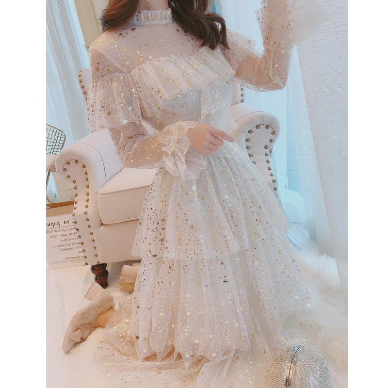 sequins lace white gauze fairy cake render in the summer of 2019 the new spring clothing organza dress is female