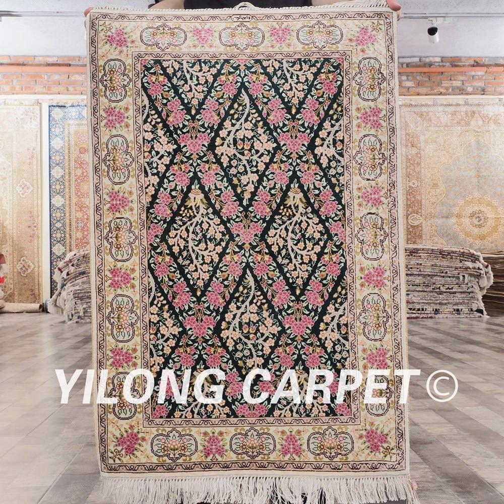 Yilong 2'x3' turkish silk hand made wall carpet handmade silk persian rugs (SL912A2x3)