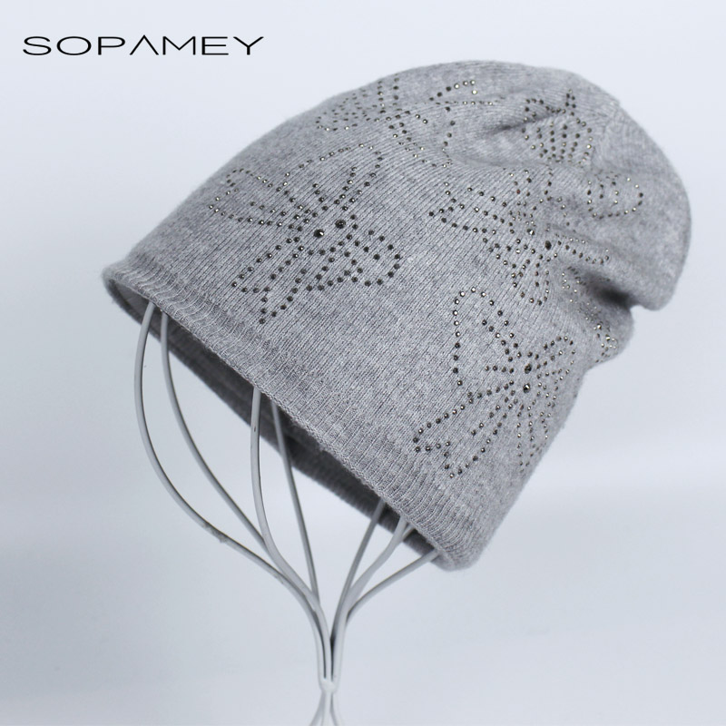 Autumn Winter Beanie Hats for Women Knitted Beanies Femal Rhinestone Butterfly Bonnet Hat Ladies Outdoors Skullies Bones 2017