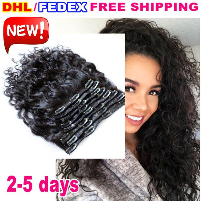 7A não transformados Remy Indiano virgem do cabelo clipe molhado e ondulado em extensões de cabelo humano 10 pcs preto natural da onda de água do cabelo clipe ins