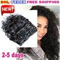 7A sin procesar Remy Indio virginal del pelo mojado y ondulado clip en extensiones de cabello humano 10 unids natural negro onda de agua del pelo clip de ins