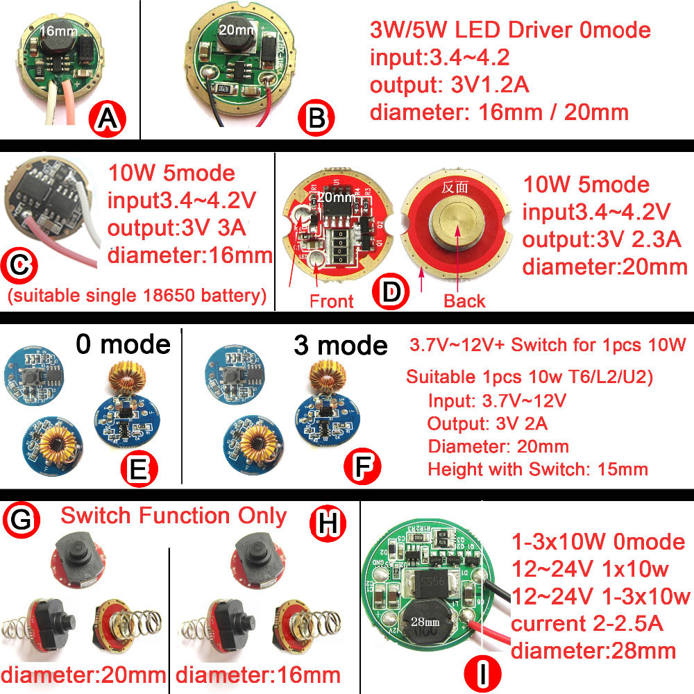 1pcs LED Driver For Cree 3W 5W 10W XPE XRE XPG2 Q5 XML L2 T6 18650 Battery LED Flashlight Car Light 3.7V 12V 24V Power Supply