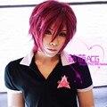 Free!Rin Matsuoka Short Wine Red Cosplay Wig