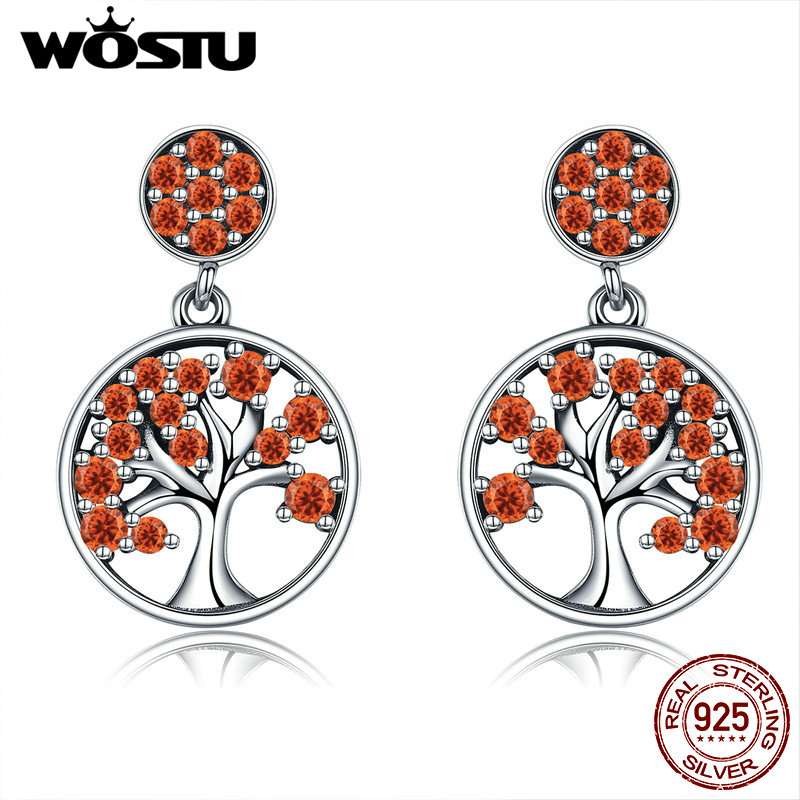 WOSTU Hot Sale 100% 925 Sterling Silver 3 Colors Tree Of Life Stud Earrings For Women Luxury S925 Silver Jewelry Gift CQE321
