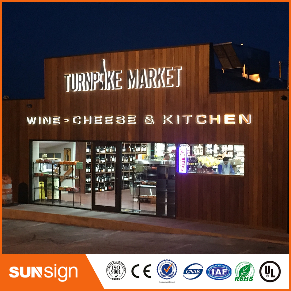 Store Sign Brushed Stainless Steel 3D Outdoor Backlit Letters