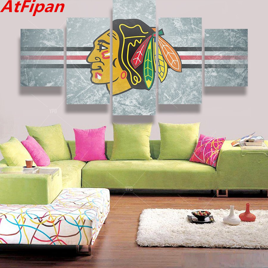 Atfipan 5 Panel Chicago Blackhawks Sports Logo Oil Painting Canvas Modern Home Pictures Prints Liveing Room