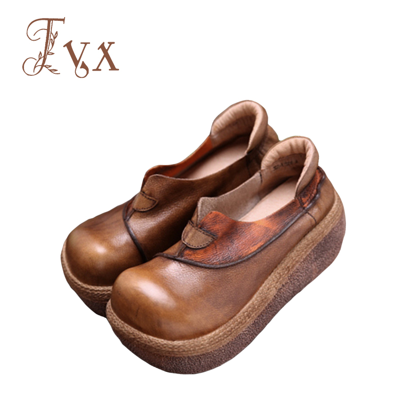 цены Tayunxing handmade shoes genuine leather wedges high heel women pumps comfort casual retro slip-on leisure 358-1