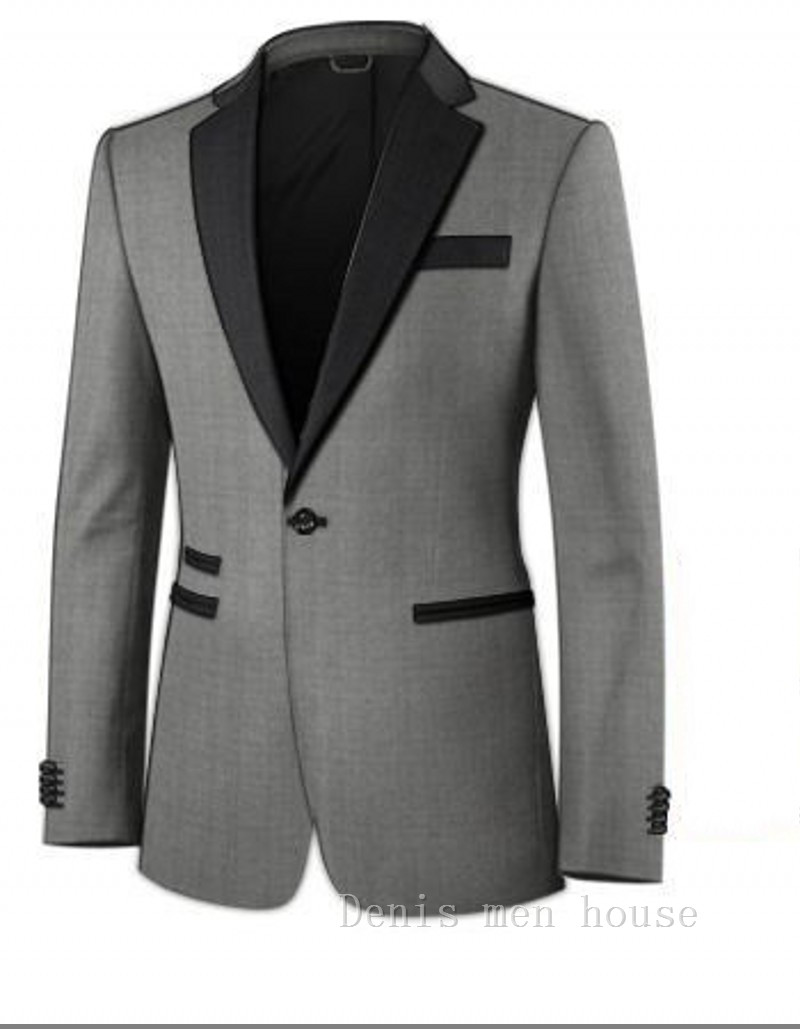 Custom Made Gray Groom Tuxedos Business Suits Natch Lapel Blazer with Black Lapel Mens Tux Bridegroom mens suit (Jacket+Pants)