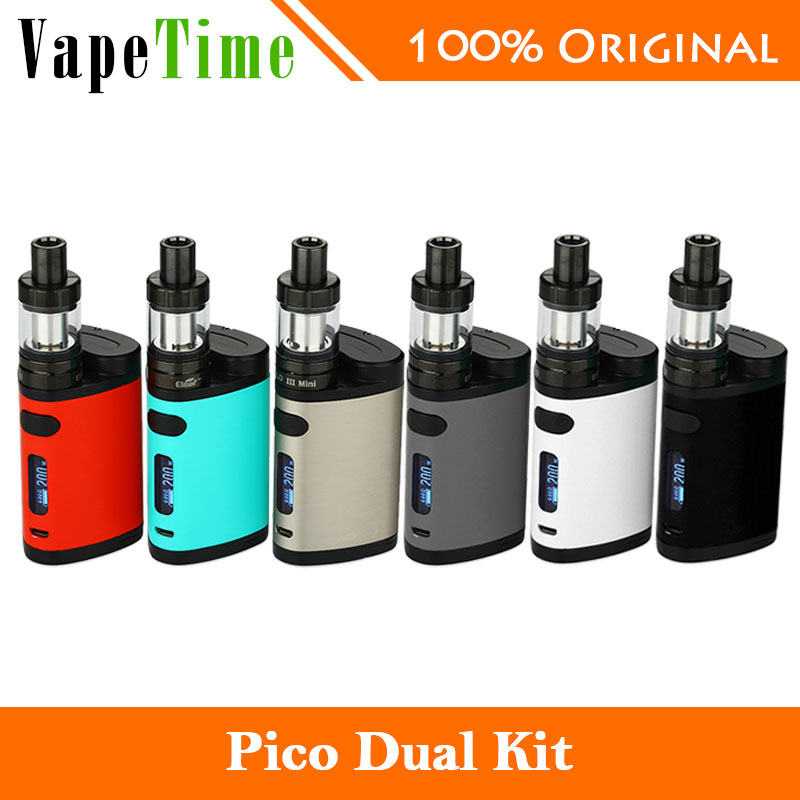 2017 New Eleaf Pico Dual TC Vaping Kit 200W with Pico Dual Box Mod and Eleaf MELO 3 Mini Atomizer 2ml vs istick Pico Mod 75W