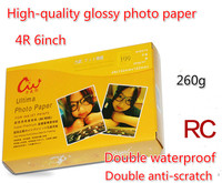 100pcs RC Paper 6 Inch High Light Double Waterproof 4R Photo Paper 260g Fine Cashmere Silk