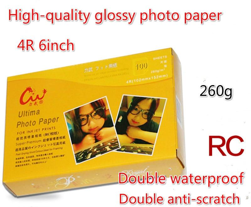 100pcs/lot RC paper 6 inch 4R 260g/270g luminous double waterproof photo paper fine cashmere photo paper