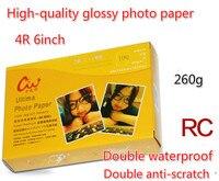 100pcs RC Paper 6 Inch High Light Double Waterproof 4R Photo Paper 260g Fine Cashmere Silk