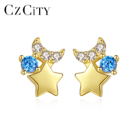 CZCITY Delicate Aquamarine Moon&Star Stud Earrings for Women Dating Pure 14k Yellow Gold Jewelry Boucle D'Oreille Bijoux E14096