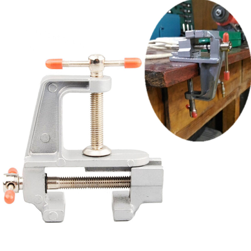 Aluminum Alloy Small Mini Table Clamp Vice Hobby Jewlery Work 30MM DIY Table Vice Miniature Vise Small Jewelers Hobby Clamp On Bench Vice Tool Drill Clamp