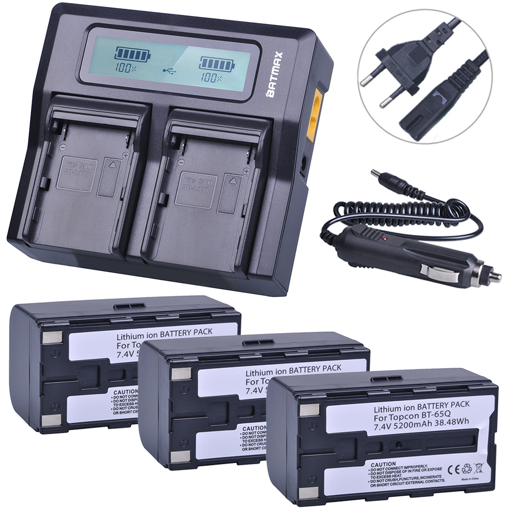 3Pcs 7.4V 5200mAh BT 65Q BT65Q Li-Ion Battery + Rapid LCD Dual Charger Kits for Topcon GTS 900 and GPT 9000 Total Station li ion 7 4v 5200mtopcon bt 65q battery for topcon gts 750 gpt 7500 total station