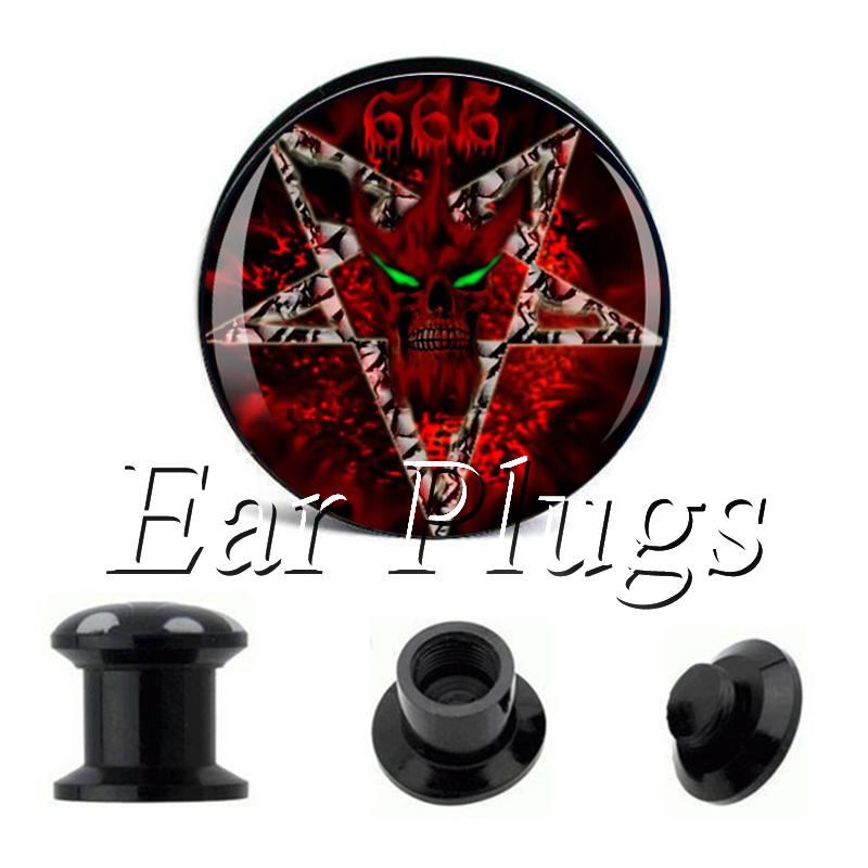 Wholesale Red 666 Baphomet plug gauges acrylic screw ear plug flesh tunnel piercing body jewelry