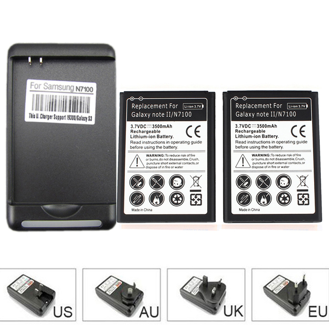 High Quality 2x Battery 3500mAh Phone Battery + USB Wall Charger for Samsung Galaxy Note 2 II GT-N7100 N7100 High Capacity