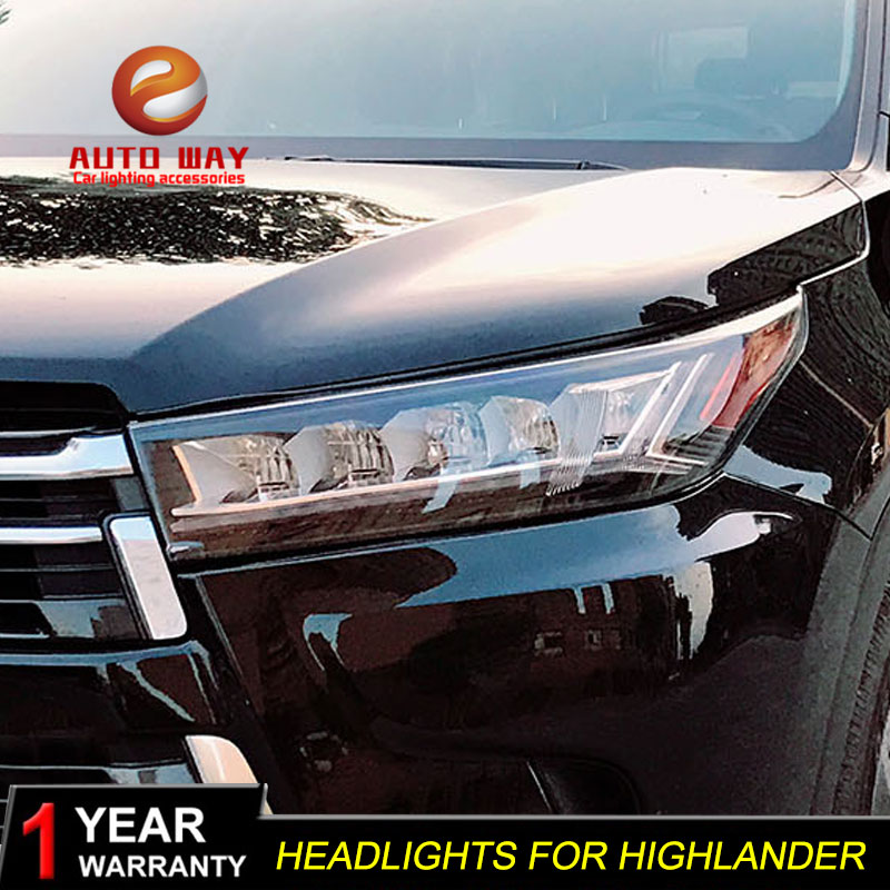 купить Car Styling Head Lamp case for Toyota Highlander 2018 Headlights Highlander LED Headlight DRL Lens Double Beam Bi-Xenon HID по цене 52324.08 рублей