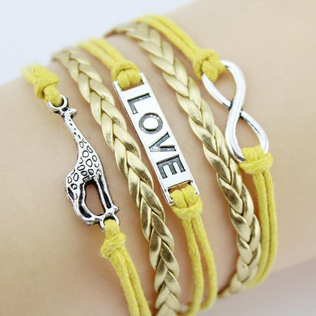 Infinity Love Giraffe Charm Bracelet Handmade Leather Braid Bracelets Bangles Give Men And Women The