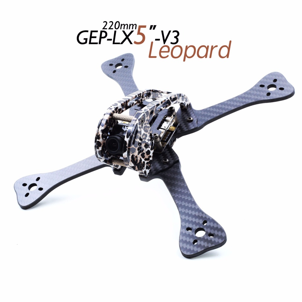 GEPRC GEP-LX5-V3 leopard frame 4 inch 5 inch 6 inch Carbon Fiber quadcopter frame Kit for DIY FPV mini RC drone RC UAV Frame set geprc diy fpv mini drone gep bx5 flyshark quadcopter 3k pure carbon fiber frame for the racing 4 5 6 4mm main arm plate