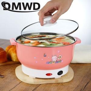 Image 3 - Dmwd mini panela de aquecimento elétrica, recipiente de aquecimento multifuncional de aço inoxidável para macarrão, arroz, vapor, ovos a vapor, pote de sopa, 2l ue eua