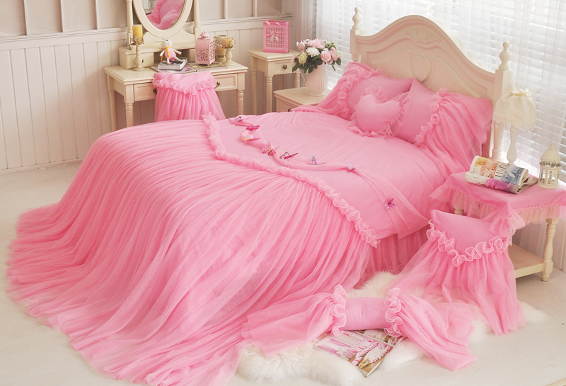 Cotton Lace Princess Girls Twin Queen King Size Bedding