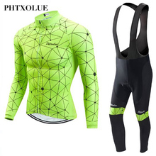 Phtxolue Pro Cycling Jersey Set Long Sleeve Mountain Bike Clothes Wear Maillot Ropa Ciclismo Racing Bicycle Clothing