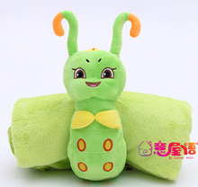 Plush roll blanket 1pc 170cm cartoon caterpillar doll vehicle soft flannel blanket office rest toy creative gift for kids baby