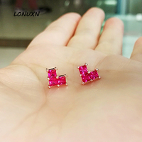 6*6.5mm 925 Silver Earrings women jewelry heart shape love fashion square red corundum simple Natural semi precious stones gift