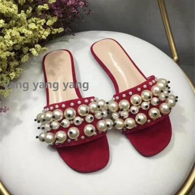 2018 Горячая Летняя обувь женские шлёпанцы кожаные туфли на плоской подошве String бусины из перламутра шлёпанцы дизайнерские тапочки снаружи