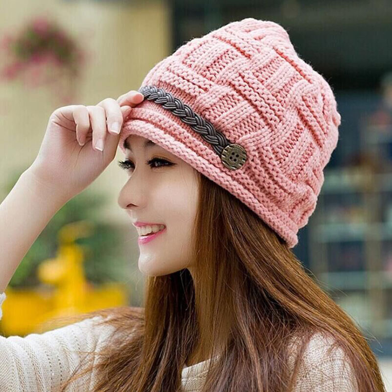 1pc Elegant Fashion Lady Female Winter Knitted Cap Tuque Skullies Bonnet Hats For Women Beanie Gorros