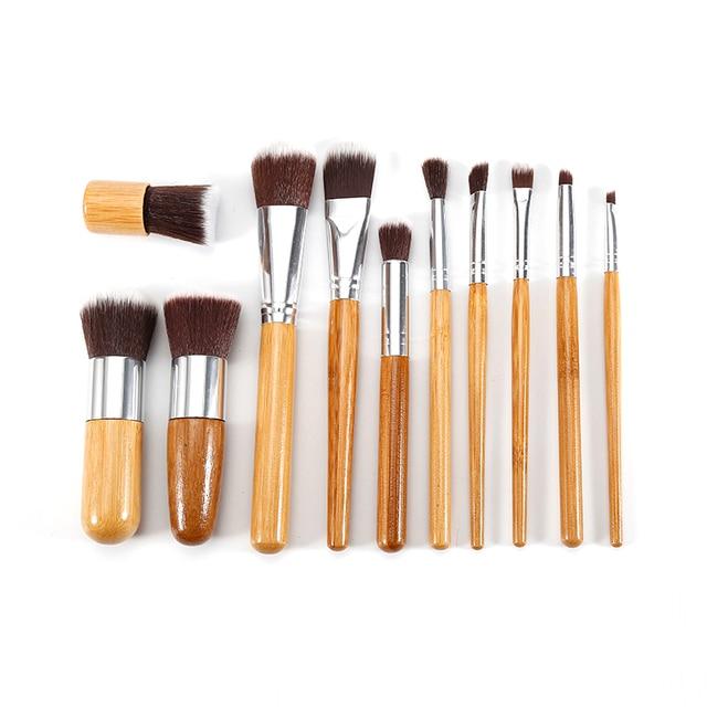 11 PCS Bamboo Handle Makeup Brushes Powder Concealer Foundation Brush Facial Mask Beauty Face Make up Brush Cosmetics Tools Set 1