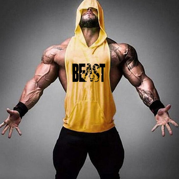 Brand Gym Clothing Fitness Men Cotton Tanktop with hooded Mens Bodybuilding Stringers Tank Tops workout Singlet Sleeveless Shirt 23