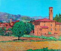 Modern Wall Painting Home Decor Art Pictures Tuscan Farm Village Allan P. Friedlander Landscape Painting Oil on Canvas Arts