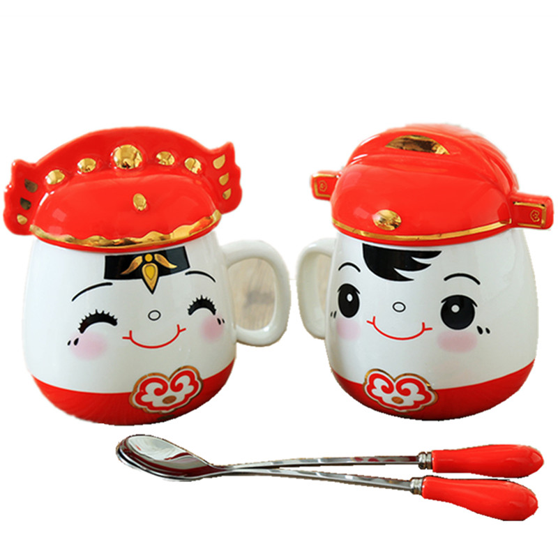 Hot Sale Wedding gifts for a lovely couple mug wtth spoon, wedding celebration,2pcs Suits