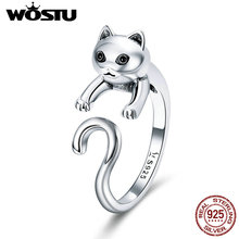 WOSTU 100% Real 925 Sterling Silver Cute Pet Cat Finger Rings For Women Authentic Silver Party Ring Fine Jewelry Gift BKR409