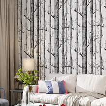 Modern style 3D stereo thicken black and white birch trees wallpaper Simulation wood grain non-woven wall pattern decor TV living bedroom art papel de pared