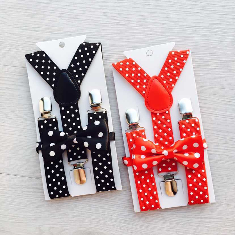 Fashion Kids Suspenders Set Children Bowtie Elastic Adjust 3 Clips Braces Print Dots Suspenders Boys Girls Pants Accessories XP